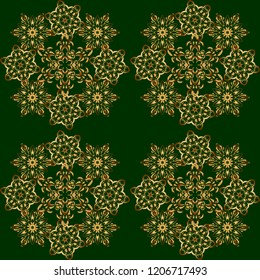 Eastern gold on a green background. Vector seamless elements for design. Golden grid in oriental style. Islamic card background.