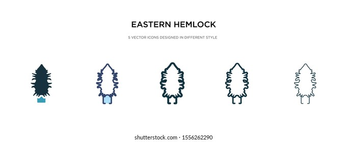 eastern hemlock tree icon in different style vector illustration. two colored and black eastern hemlock tree vector icons designed in filled, outline, line and stroke style can be used for web,