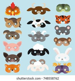 Eastern Horoscope. Animals - symbols of the Year. Set of masks for photo booth props, carnivals, masquerade