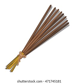 Eastern incense sticks isolated on white background. Vector cartoon close-up illustration.