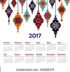 Eastern Lantern, Turkish lamp, 2017 Calendar, vector