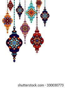 Eastern Lantern, Turkish lamp, template design, vector