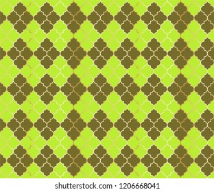 Eastern Mosque Vector Seamless Pattern. Argyle rhombus muslim textile background. Traditional mosque pattern with gold grid. Stylish islamic argyle seamless design of lantern lattice shape tiles.