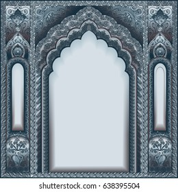 Eastern ornamented arch. Silver color.