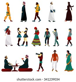 Eastern people male and female decorative icons set isolated vector illustration