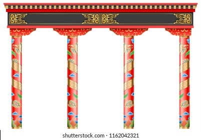 The Eastern red chinese arch. Carved architecture and classic columns. Chinese style. Decorative architectural frame in vector graphics.
