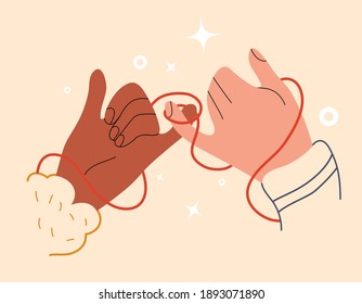 Eastern red thread of fate on hands of lovers. Valentines Day with soulmate. Symbol of eternal love or friendship. Connection two destinies or marriage on little fingers. Vector stock illustration.
