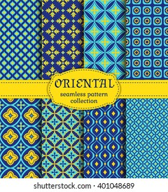 Eastern seamless patterns. Set in blue, indigo and yellow colors. Colorful collection of stylized oriental ornaments. Vector abstract backgrounds.