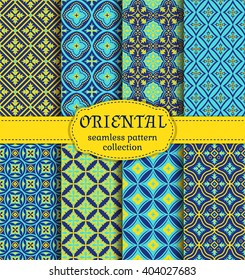 Eastern seamless patterns. Set in blue, indigo and yellow colors. Colorful collection of stylized oriental ornaments. Trendy abstract backgrounds. Vector illustration.