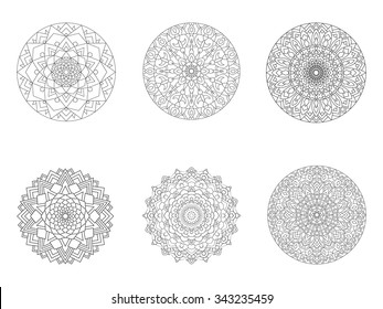 Eastern set of circular ornaments isolated on a white background. Collection of ethnic patterns. Coloring book and page for adults with drawings of mandalas.