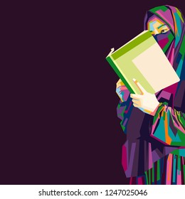 Eastern women read books. jilbab girl vector illustration. eps 10