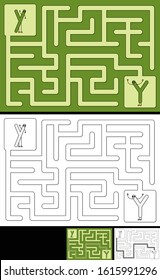 Easy alphabet maze for kids with a solution - worksheet for learning alphabet - recognizing letter Y
