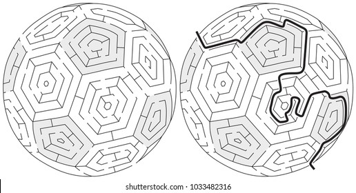 Easy ball maze for kids with a solution in black and white