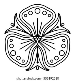 Easy black and white flower pattern. Pansy like floral shape for coloring book pages. Simple mandala to color for kids & beginners.