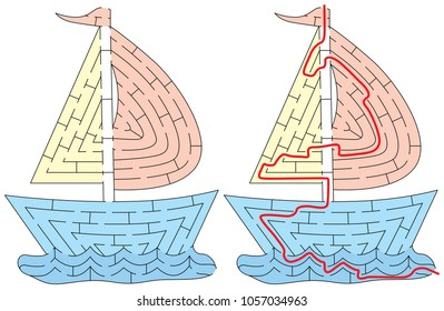 Easy boat maze for younger kids with a solution