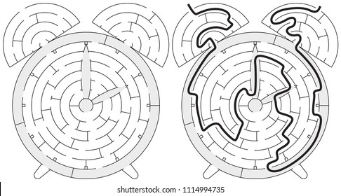 Easy clock maze for younger kids with a solution in black and white
