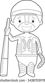 Easy coloring cartoon character from Australia (Aboriginal) dressed in the traditional way with didgeridoo. Vector Illustration.