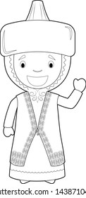 Easy coloring cartoon character from Kazakhstan dressed in the traditional way Vector Illustration.