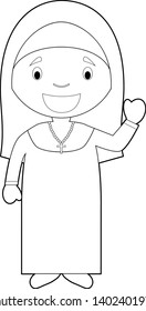 Easy coloring cartoon vector illustration of a nun.