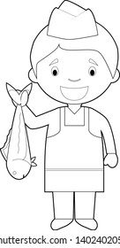 Easy coloring cartoon vector illustration of a fishmonger.