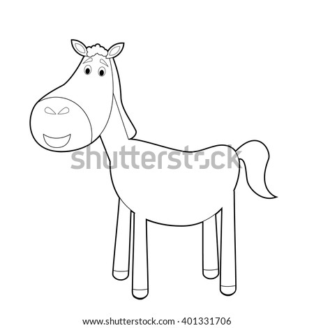 Easy Coloring Drawings Animals Little Kids Stock Vector Royalty