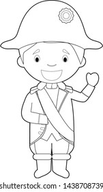 Easy coloring Napoleon Bonaparte cartoon character dressed in the traditional way. Vector Illustration.