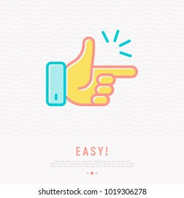 Easy concept: finger clicking thin line icon. Modern vector illustration