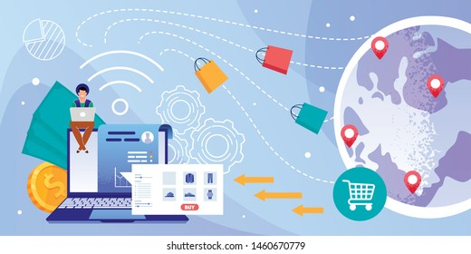 Easy and Convenient Shopping Online Flat Vector Concept with Male Customer, Buyer Using Laptop, Choosing Goods, Purchasing Clothing on Online Store Web Page, Ordering World Wide Delivery Illustration