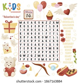 """Easy crossword puzzle """"Valentine's day"""", for children in elementary, primary and middle school. Fun way to practice language comprehension and expand vocabulary. Includes answers."""