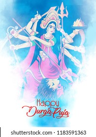 easy to edit innovative abstract or poster for Happy Durga Puja, navratri India festival holiday background