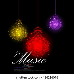 easy to edit vector illustration of abstrac musical background with music notes