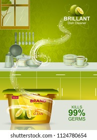 easy to edit vector illustration of Advertisement banner of tough stain remover Dishwasher for clean and fresh utensil