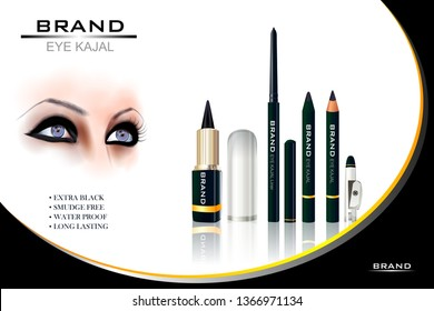 easy to edit vector illustration of Advertisement promotion banner for trendy dark smudge and waterproof eye liner Kajal fashion