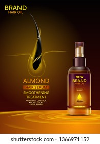 easy to edit vector illustration of Advertisement promotion banner for almond oil hair serum for smoothening and strong hair
