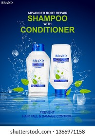 easy to edit vector illustration of Advertisement promotion banner for Menthol Shampoo for dry and damaged hair