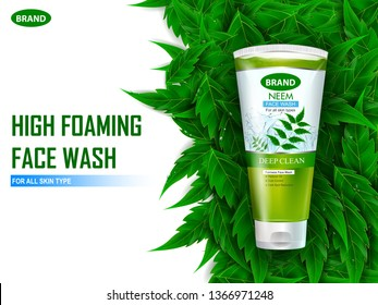 easy to edit vector illustration of Advertisement promotion banner for cool and refreshing foaming face wash