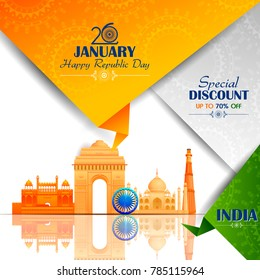 easy to edit vector illustration of Ashoka Chakra on Happy Republic Day of India Sale background
