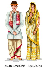 easy to edit vector illustration of Assamese wedding couple in traditional costume of Assam, India