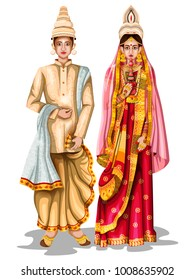 easy to edit vector illustration of Bengali wedding couple in traditional costume of West Bengal, India
