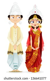 easy to edit vector illustration of Bengali wedding couple