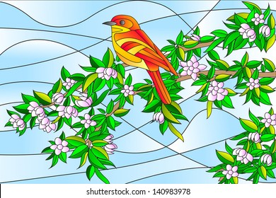 easy to edit vector illustration of bird sitting on tree stained glass painting