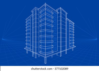 easy to edit vector illustration of blueprint of building