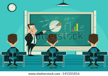 easy to edit vector illustration of business presentation class