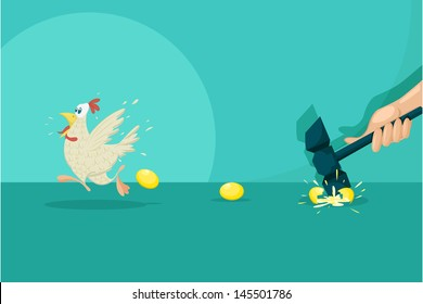 easy to edit vector illustration of businessman breaking golden egg and flying hen