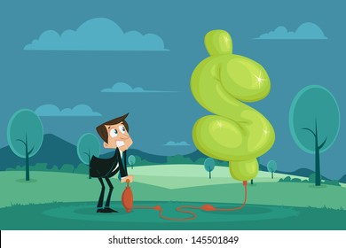 easy to edit vector illustration of businessman pumping air in dollar shape balloon
