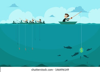 easy to edit vector illustration of businessman fishing dollar sitting in boat
