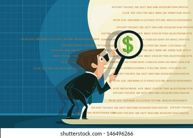 easy to edit vector illustration of businessman looking on dollar through magnifying glass