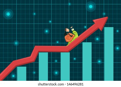 easy to edit vector illustration of businessman riding snail