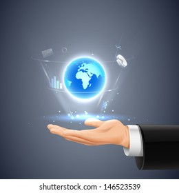 easy to edit vector illustration of businessman showing Global communication
