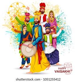 easy to edit vector illustration of celebration of Punjabi festival Vaisakhi background